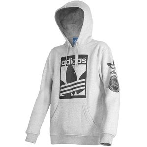 ADIDAS Brand With 3 Stripes Pullover Logo Hoodie L